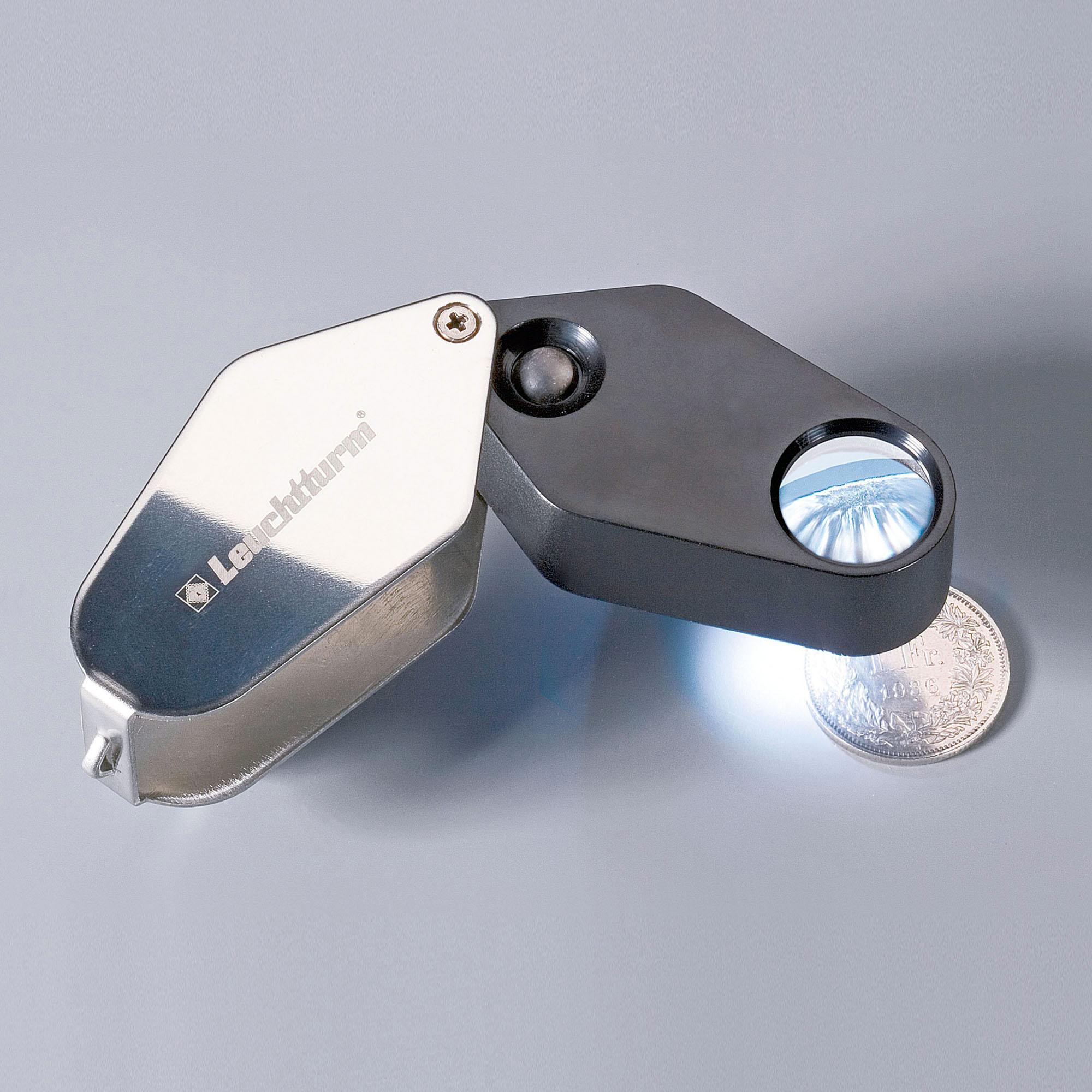 Лупа складная светодиодная 10-кратная LU 24