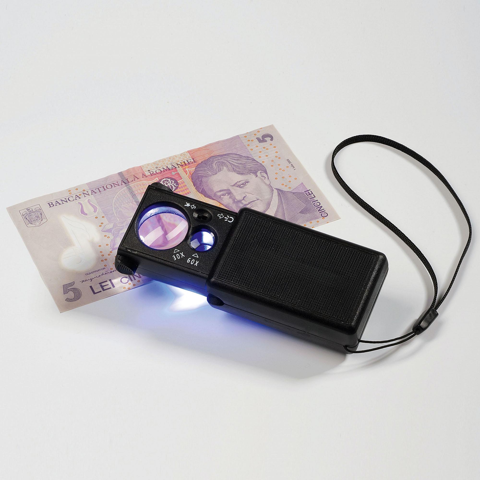 Лупа выдвижная светодиодная 10 и 30-кратная с УФ-лампой